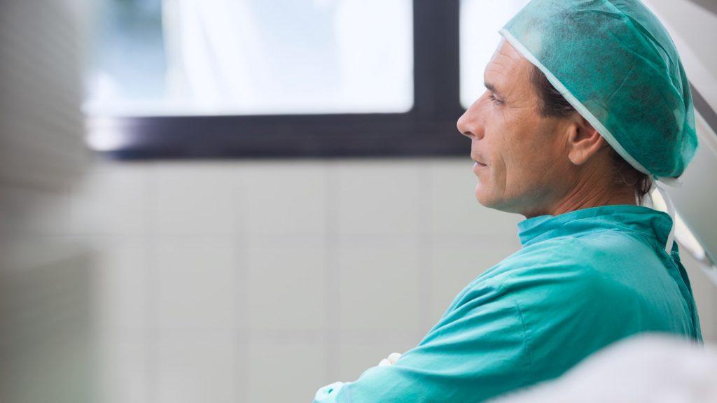 Doctor pondering